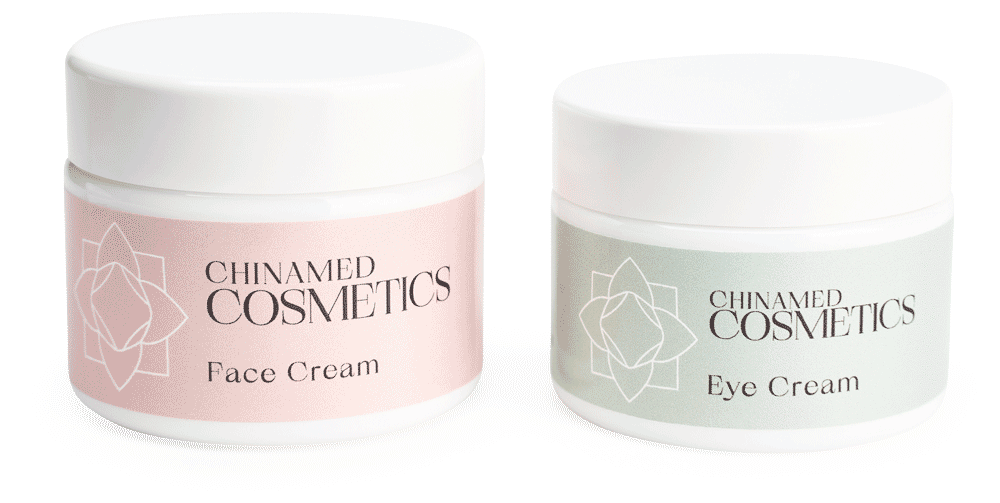 CHINAMED COSMETICS zwei Opalglastiegel Face Cream Eye Cream