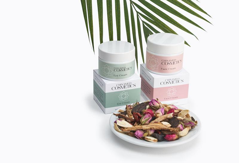 Cremetiegel und Verpackung von CHINAMED COSMETICS Eye Cream Face Cream mit TCM Kräutern und Palmzweig