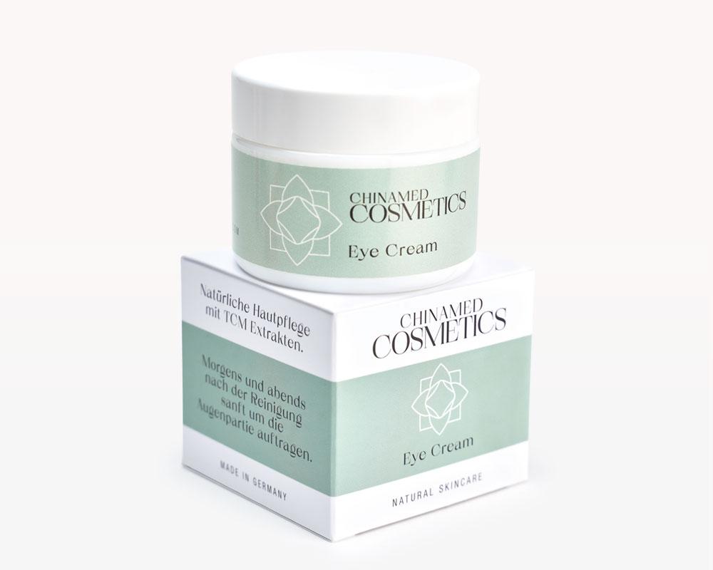 Tiegel und Verpackung von CHINAMED COSMETICS Eye Cream Natürliche Hautpflege mit TCM Extrakten Made in Germany